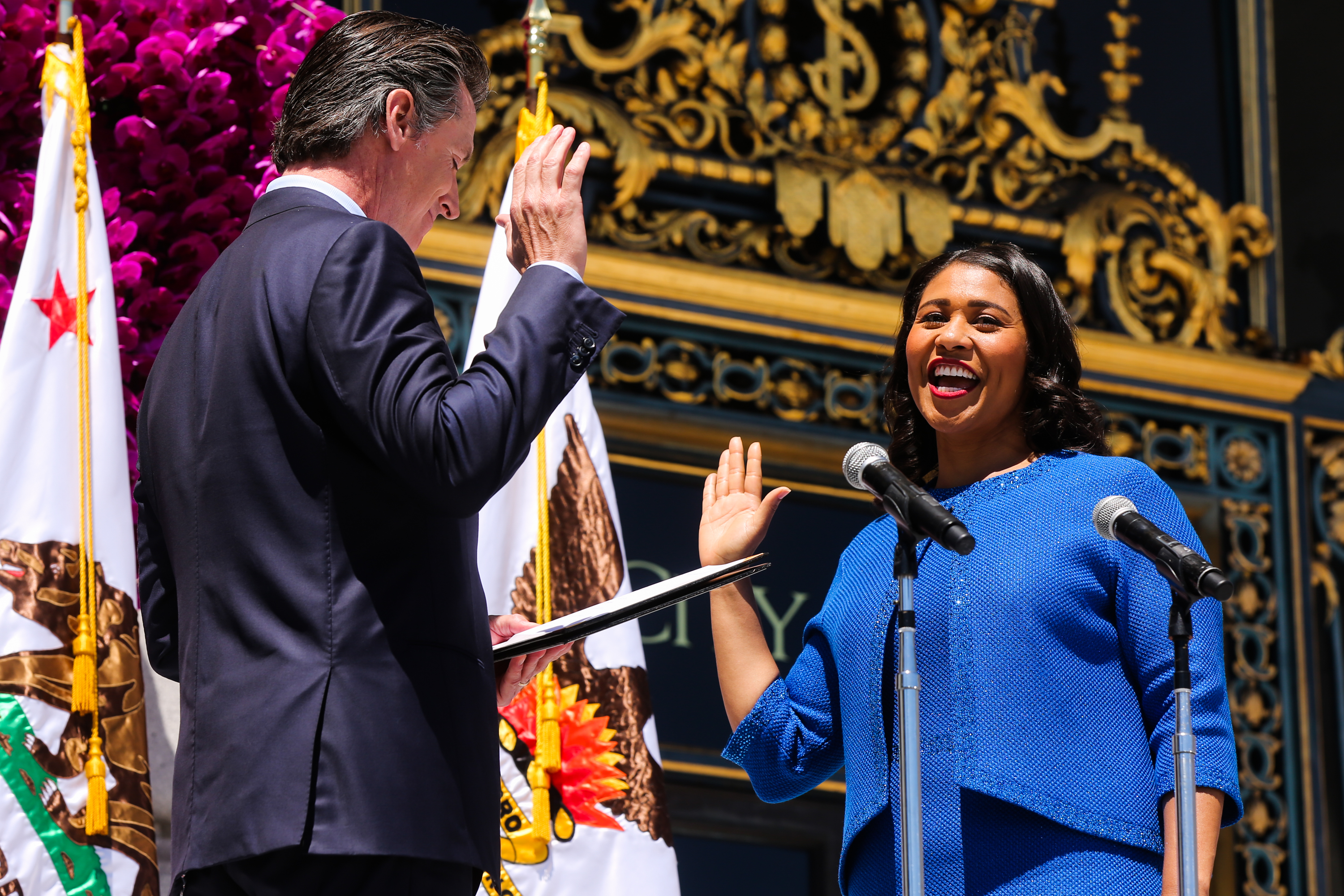 <div class='meta'><div class='origin-logo' data-origin='none'></div><span class='caption-text' data-credit='The Chronicle'>Mayor London Breed takes the oath of office during the inauguration outside City Hall in San Francisco on Wednesday, July 11, 2018.</span></div>