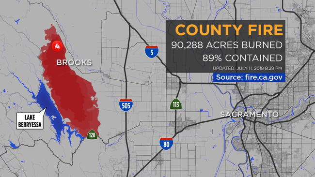 County Fire In Yolo County Now At 32 500 Acres 2 Percent Contained