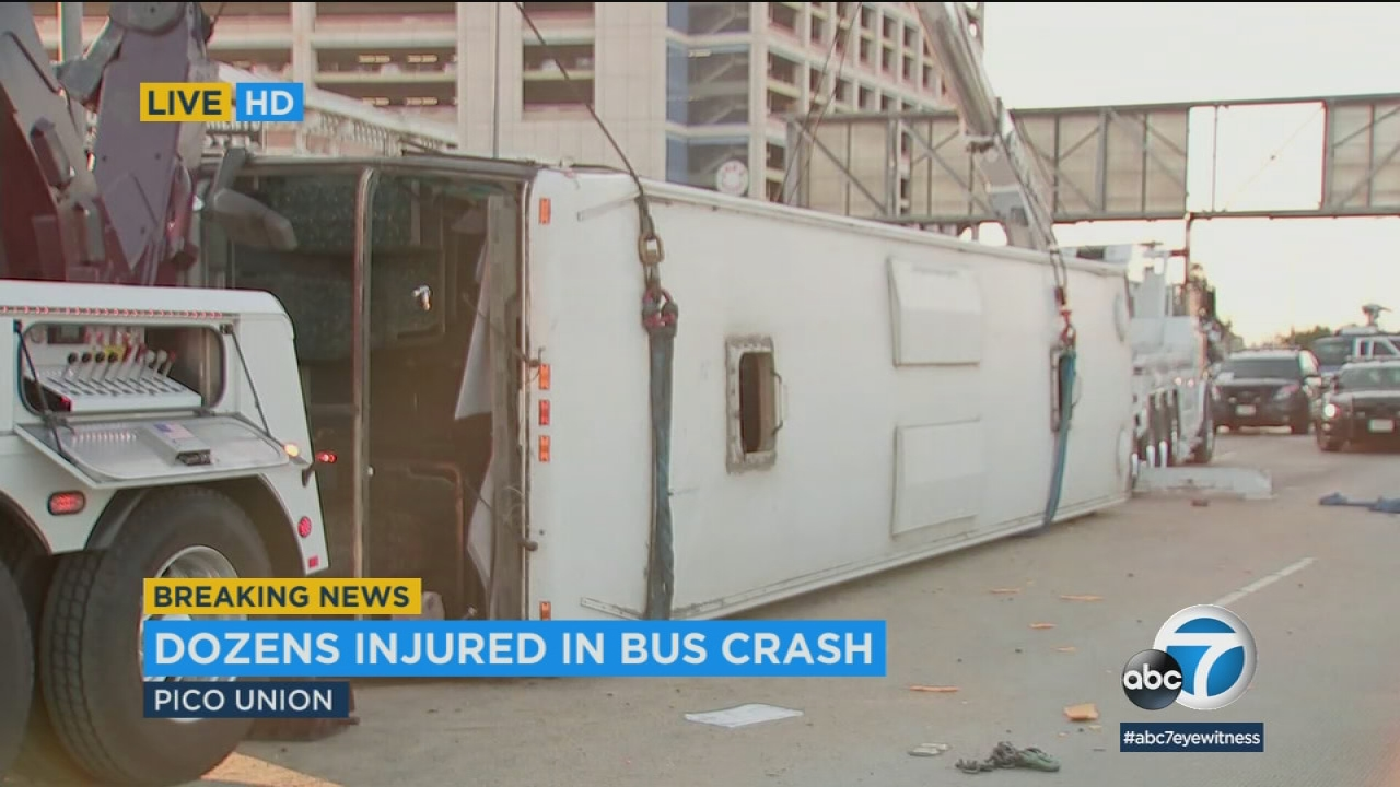 Twenty-five people were transported to hospitals with mostly minor injuries after a bus overturned on the 10 Freeway in Pico-Union.