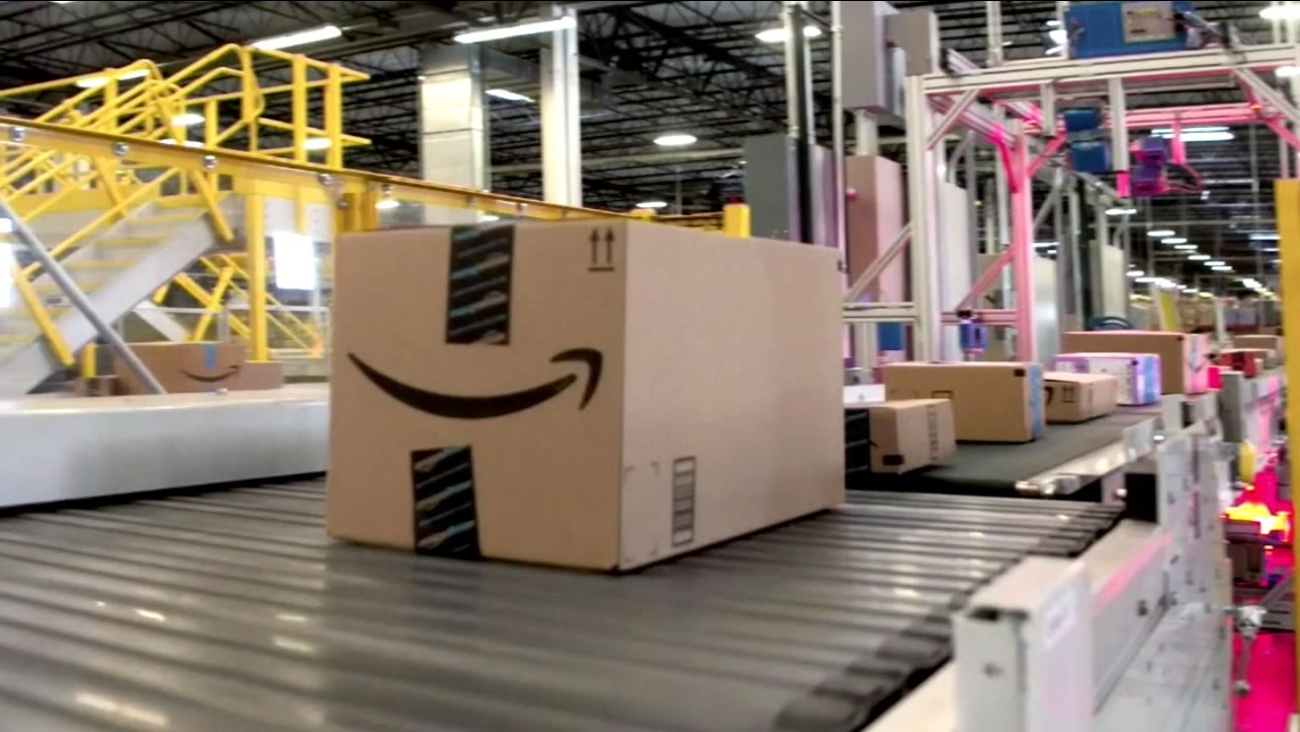 A shipping box is pictured at an Amazon facility in this undated file photo.