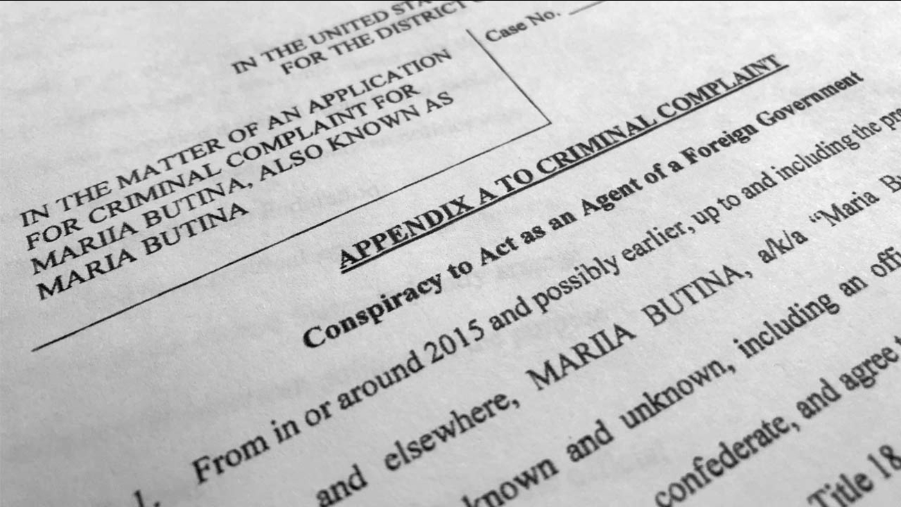 Court papers unsealed Monday, July 16, 2018, photographed in Washington, shows part of the criminal complaint against Maria Butina.