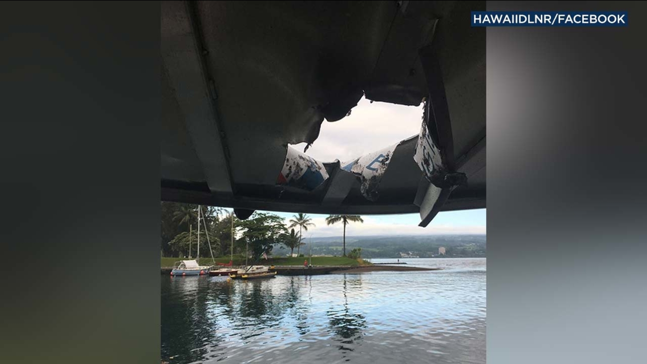 This image from the Hawaii Department of Land and Natural Resources shows damage done to a boat by a lava bomb.
