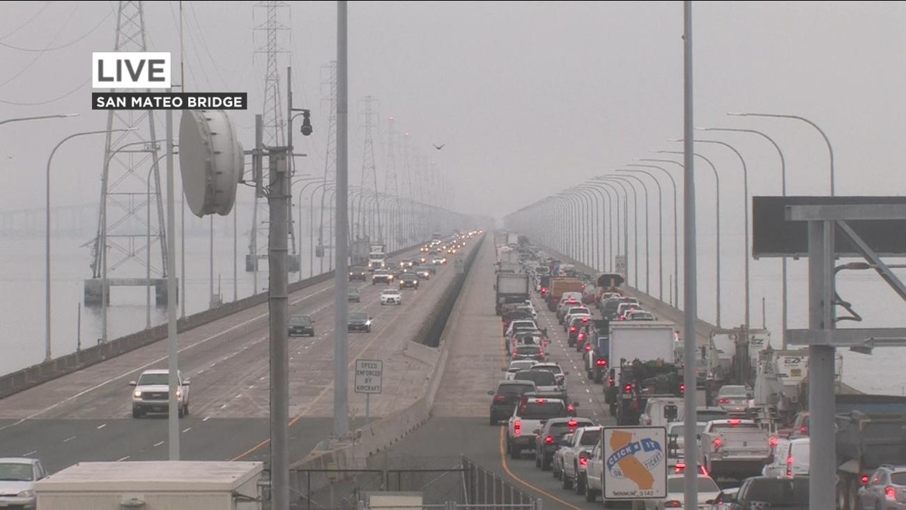 Traffic on the San Mateo Bridge on Wednesday, July 18, 2018.