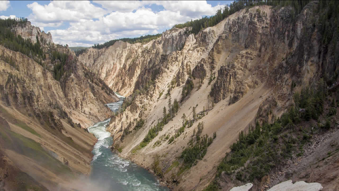 This July 22, 2014 photo shows Yellowstone Falls in Yellowstone National Park in Wyo. (AP Photo/Vince Swagerty)