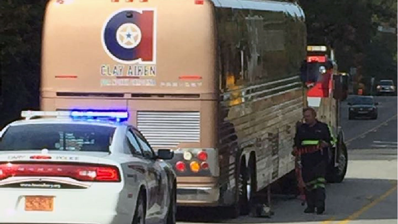 Authorities in Cary had to assist Aiken's tour bus Tuesday morning after it stalled out moments after he cast his vote at a nearby polling site.