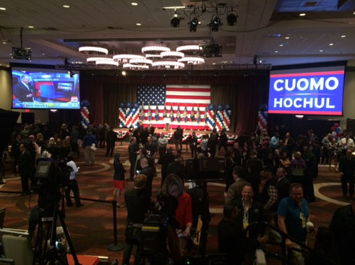 """<div class=""""meta image-caption""""><div class=""""origin-logo origin-image """"><span></span></div><span class=""""caption-text"""">A look at the headquarters for Governor Andrew Cuomo on election night. (Mike Humphries)</span></div>"""