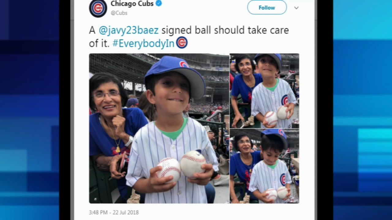 Young fan awarded ball by Cubs
