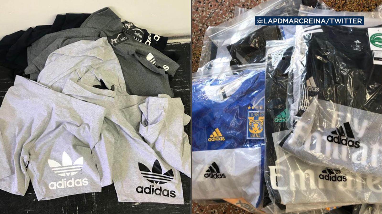 Limpiar el piso Céntrico Especial  LAPD seizes fake Adidas merchandise worth more than $200K in Santee Alley -  ABC7 Los Angeles