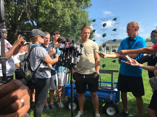 "<div class=""meta image-caption""><div class=""origin-logo origin-image wtvd""><span>WTVD</span></div><span class=""caption-text"">Panthers arrive at Wofford College for training camp</span></div>"