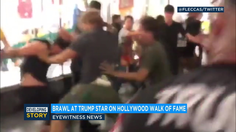 VIDEO: Fight erupts at Donald Trump star on Walk of Fame