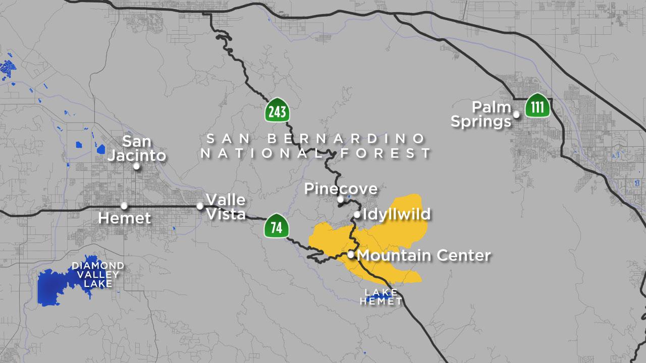 Cajon Pass Fire Map.Cranston Fire Map Where Idyllwild Brush Fire Is Burning Abc7 Com