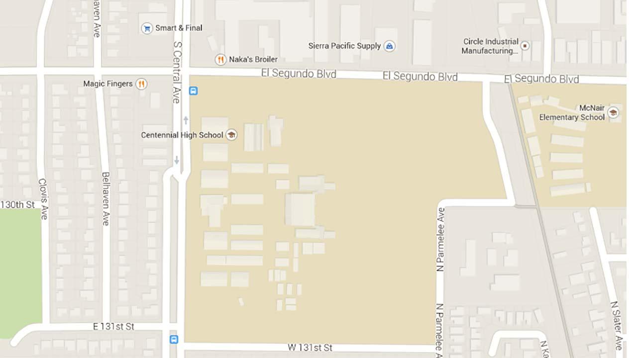 A map shows Centennial High School in Compton.