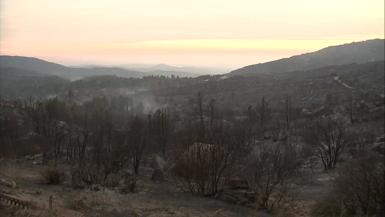 The remains of areas charred by the large Cranston Fire burning in Idyllwild is shown.