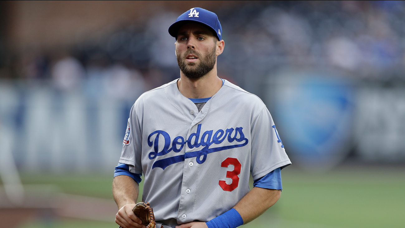 Los Angeles Dodgers center fielder Chris Taylor before a baseball game against the San Diego Padres Monday, July 9, 2018, in San Diego.