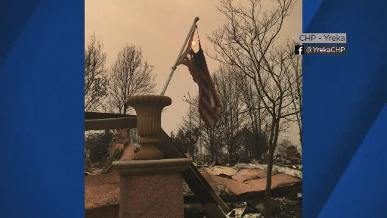 Old Glory stands tall as Carr Fire rages in Shasta County