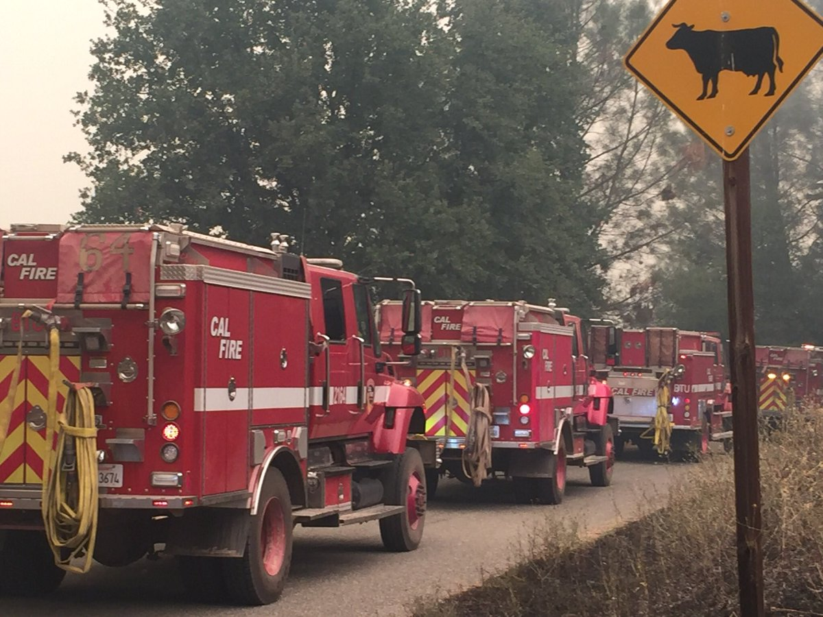 <div class='meta'><div class='origin-logo' data-origin='none'></div><span class='caption-text' data-credit='KGO-TV'>Cal Fire crews head to battle the Carr Fire burning near Redding, Calif. on Monday, July 30, 2018.</span></div>