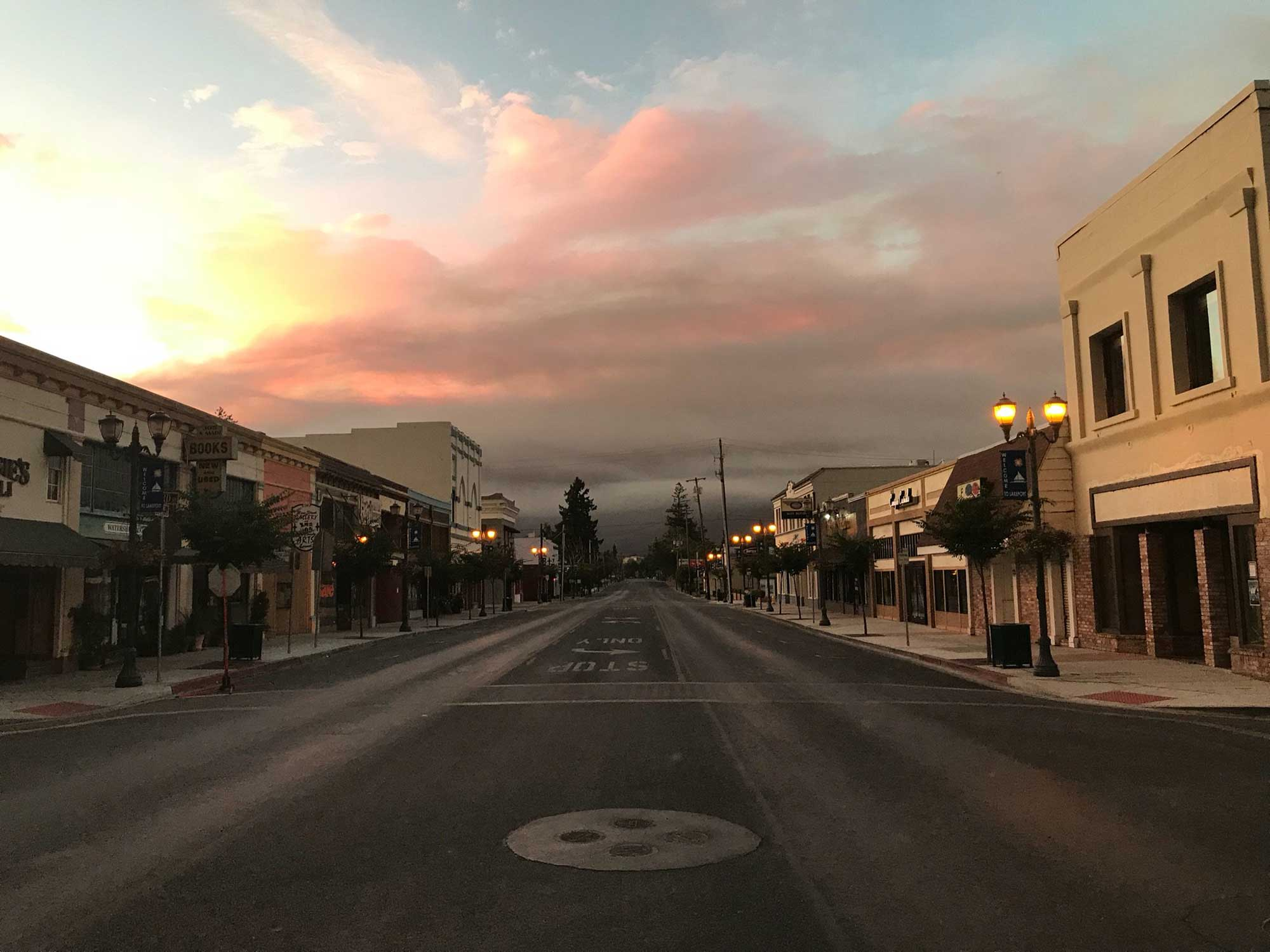 <div class='meta'><div class='origin-logo' data-origin='none'></div><span class='caption-text' data-credit='CityofLakeport/Twitter'>The City of Lakeport posted this photo on Sunday, writing, ''It's an eerie scene in downtown #Lakeport. #RiverFire #MandatoryEvacuation''</span></div>
