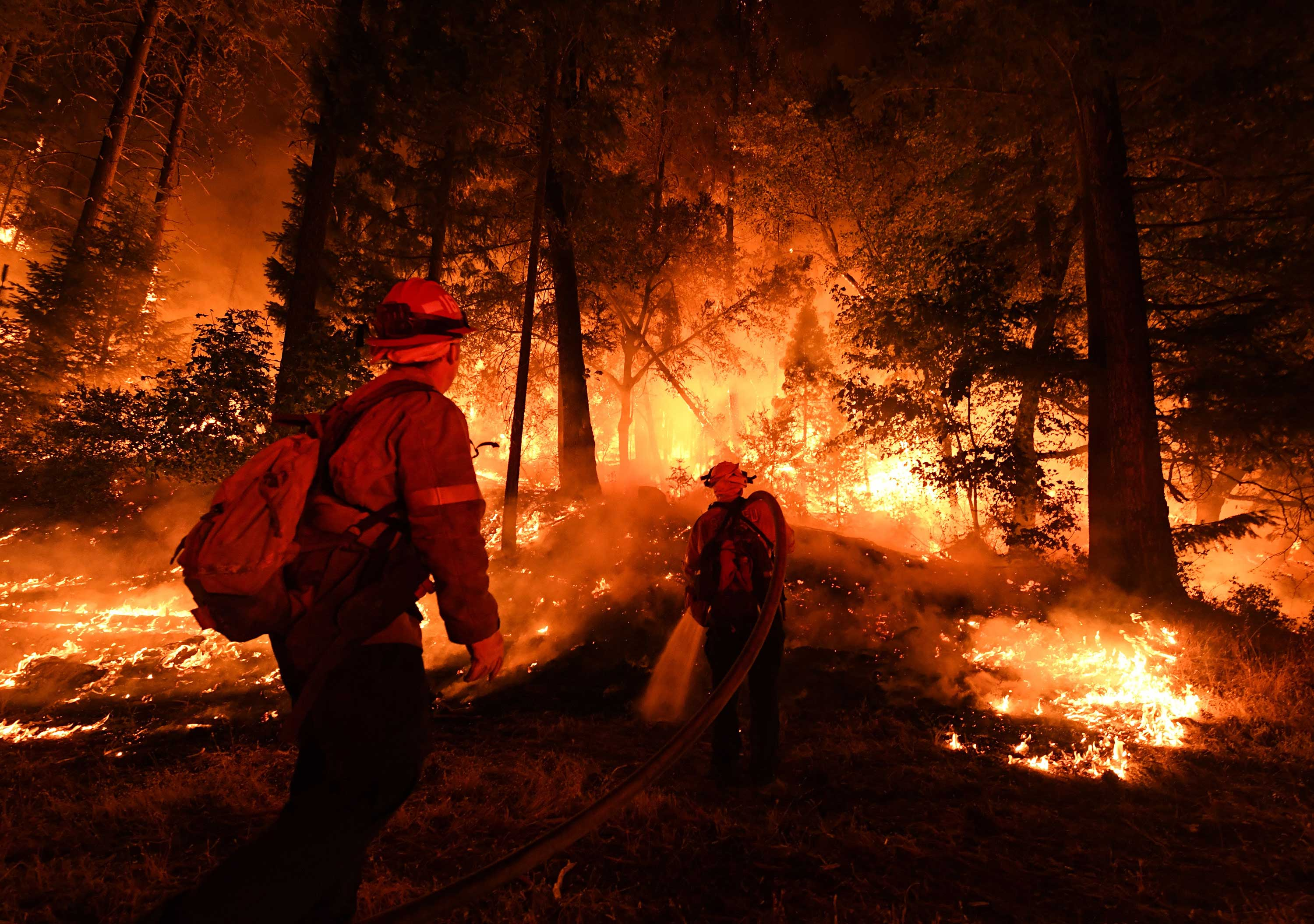 <div class='meta'><div class='origin-logo' data-origin='none'></div><span class='caption-text' data-credit='MARK RALSTON/AFP/Getty Images'>Firefighters try to control a back burn as the Carr fire continues to spread towards the towns of Douglas City and Lewiston near Redding, California on July 31, 2018.</span></div>