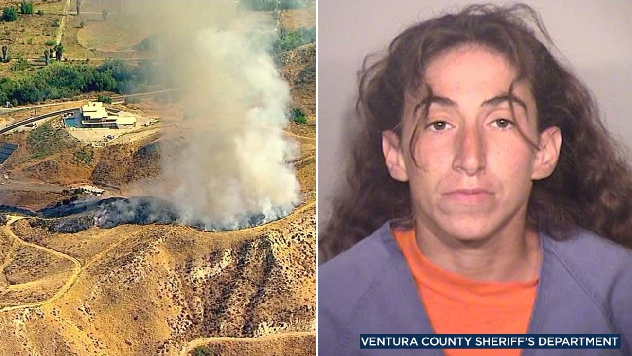 (Left) A brush fire erupted in Simi Valley on Wednesday, Aug. 1, 2018. (Right) Alexandra Gindlesberger, 33, is seen in a booking photo from the Ventura County Sheriff's Department.