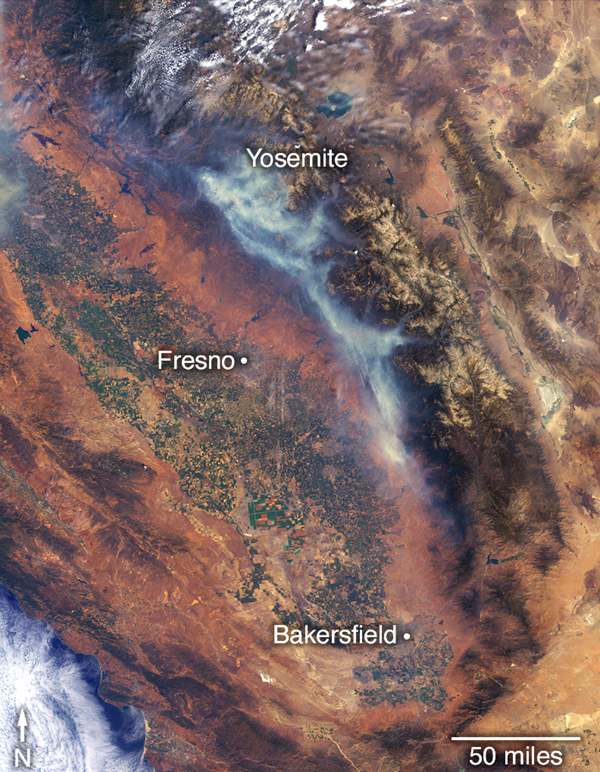"<div class=""meta image-caption""><div class=""origin-logo origin-image none""><span>none</span></div><span class=""caption-text"">This July 29 satellite image from the Multi-angle Imaging SpectroRadiometer (MISR) instrument on NASA's Terra satellite shows the Ferguson fire near Yosemite National Park. (NASA via AP)</span></div>"