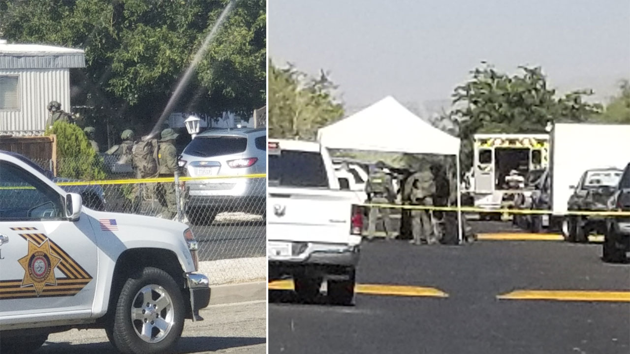 The scene of a barricade in Hesperia on Sunday, Aug. 5, 2018.