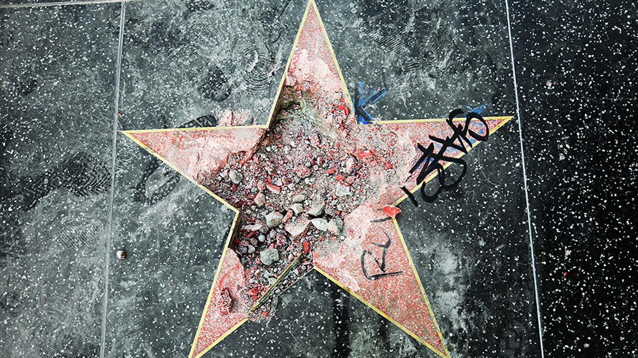 This photo shows Donald Trump's star on the Hollywood Walk of Fame that was vandalized Wednesday, July 25, 2018, in Los Angeles.