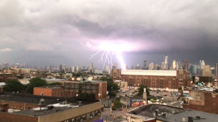 <div class='meta'><div class='origin-logo' data-origin='none'></div><span class='caption-text' data-credit='@Chica_Latina17/Twitter'>Viewers posted dramatic images on social media of lightning strikes in and around New York City on August 7, 2018.</span></div>