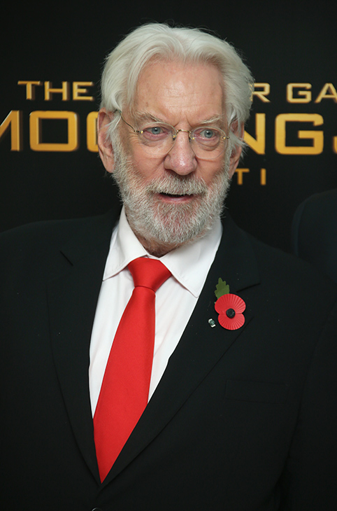 "<div class=""meta image-caption""><div class=""origin-logo origin-image ""><span></span></div><span class=""caption-text"">Donald Sutherland poses for photographers upon arrival to the world premiere of 'The Hunger Games: Mockingjay Part 1' in London, Monday, Nov. 10, 2014. (Joel Ryan/Invision/AP)</span></div>"