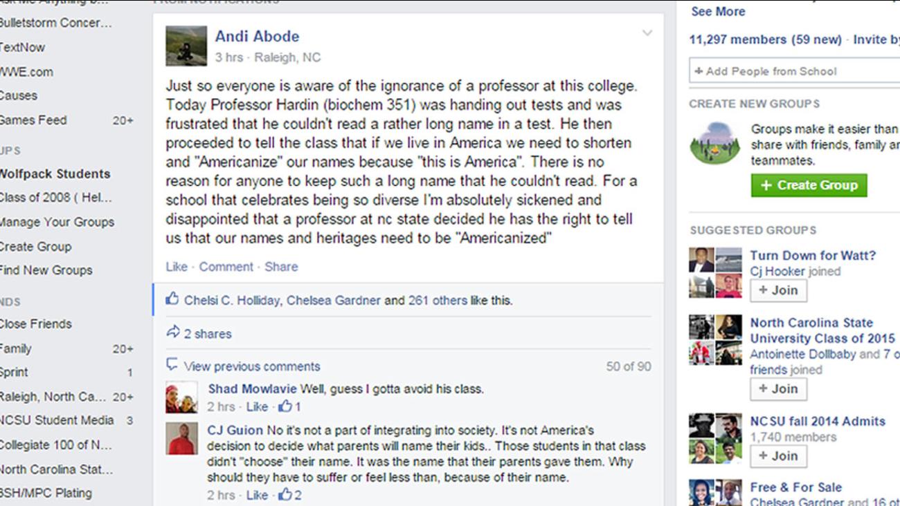 NCSU Professor Americanization comment