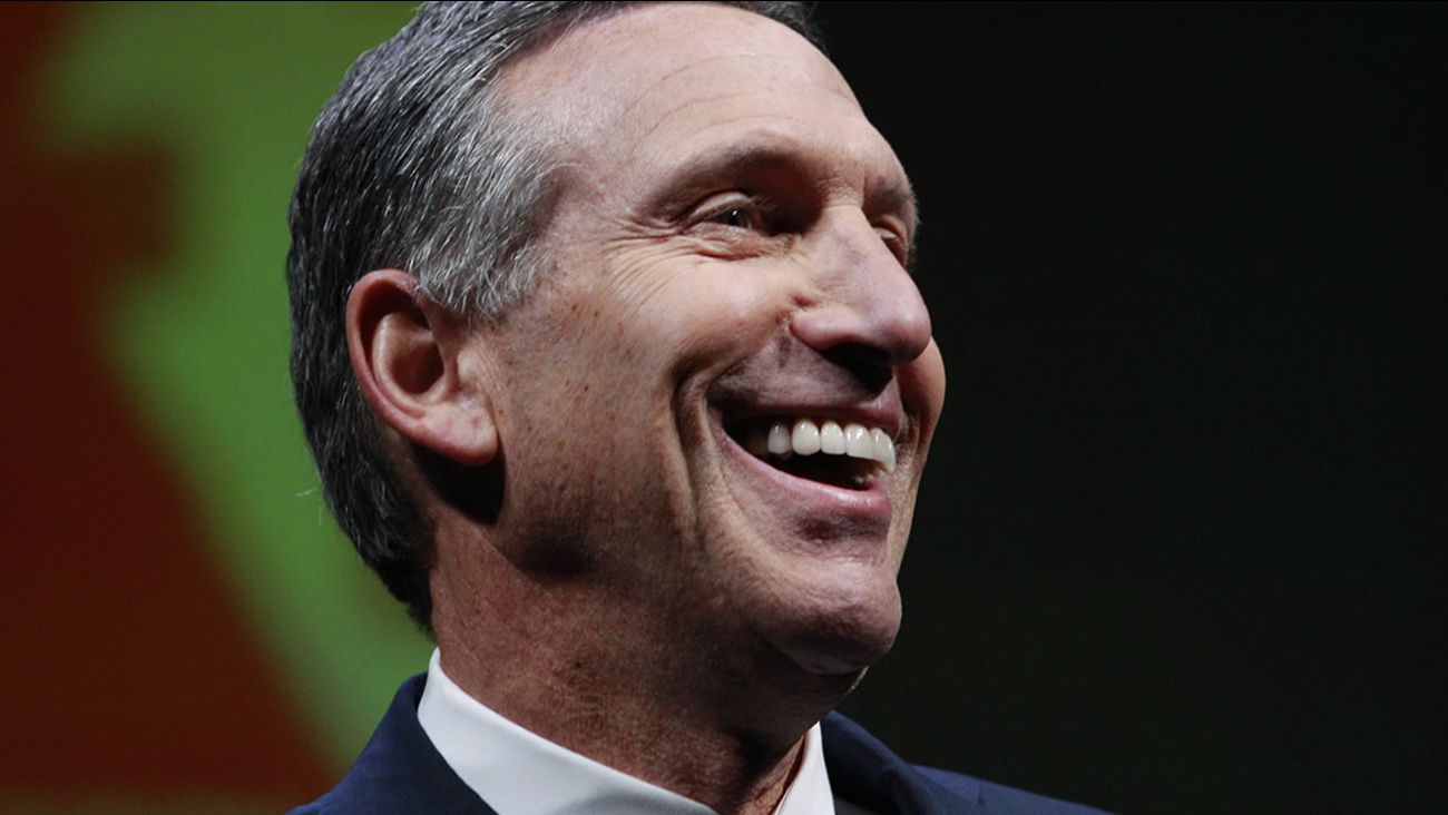 Starbucks chairman and CEO Howard Schultz smiles as he speaks at the annual Starbucks shareholders meeting Wednesday, March 21, 2012, in Seattle. (AP Photo/Elaine Thompson)
