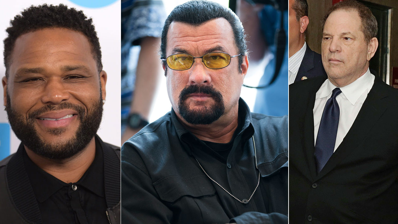 Anthony Anderson, Steven Seagal and Harvey Weinstein are shown in images.