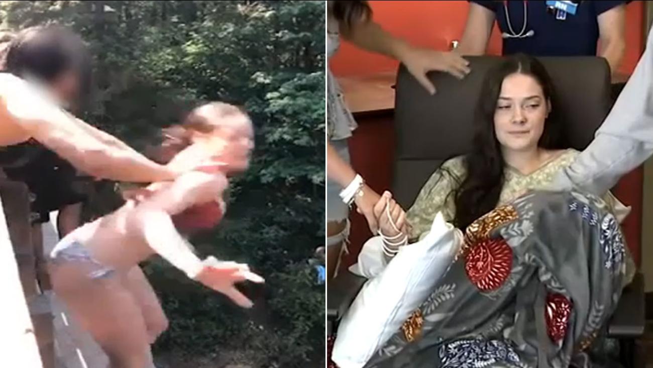 girl pushed off bridge