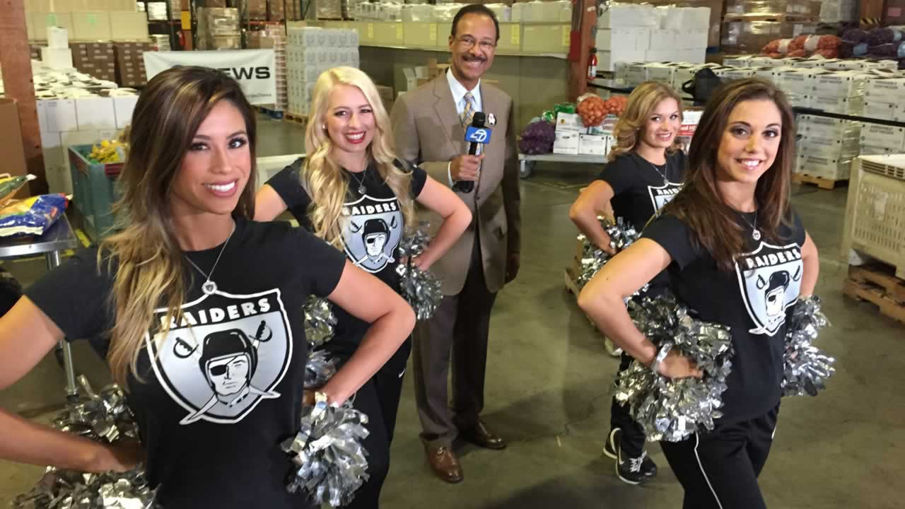 "<div class=""meta image-caption""><div class=""origin-logo origin-image ""><span></span></div><span class=""caption-text"">ABC7's Spencer Christian with the Oakland Raiderettes, who volunteer at Alameda County Community Food Bank throughout the year.</span></div>"
