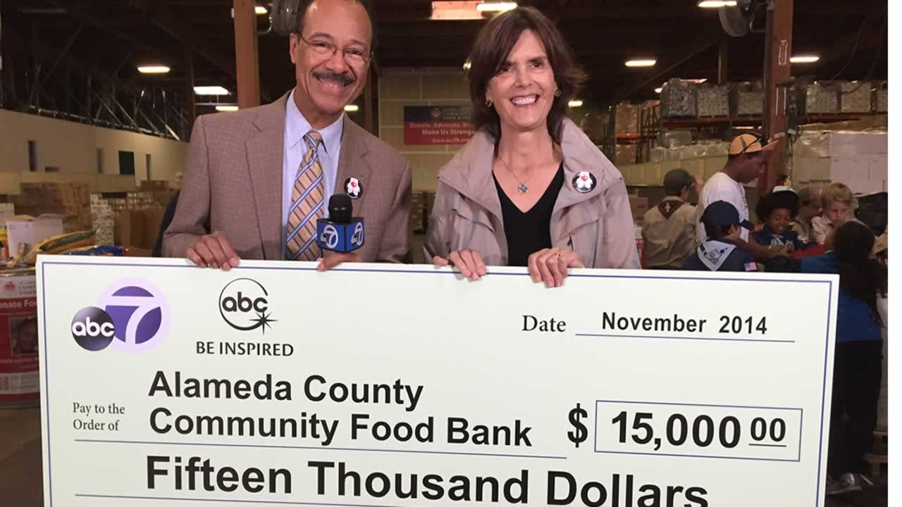 "<div class=""meta image-caption""><div class=""origin-logo origin-image ""><span></span></div><span class=""caption-text"">ABC7's Spencer Christian with Alameda County Community Food Bank Executive Director Suzan Bateson.</span></div>"