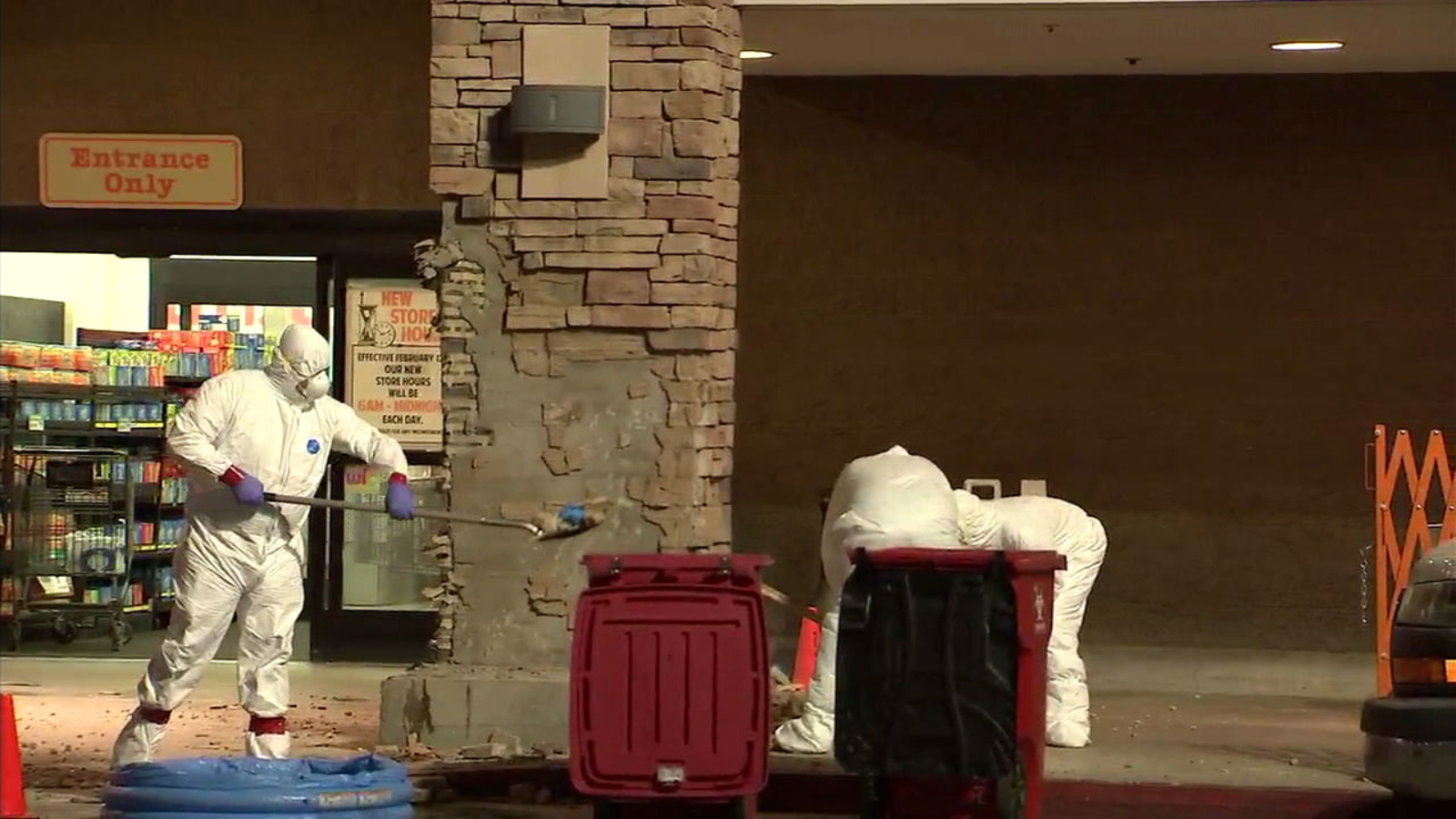 Body of possible chase suspect found inside entrance column of Lancaster supermarket