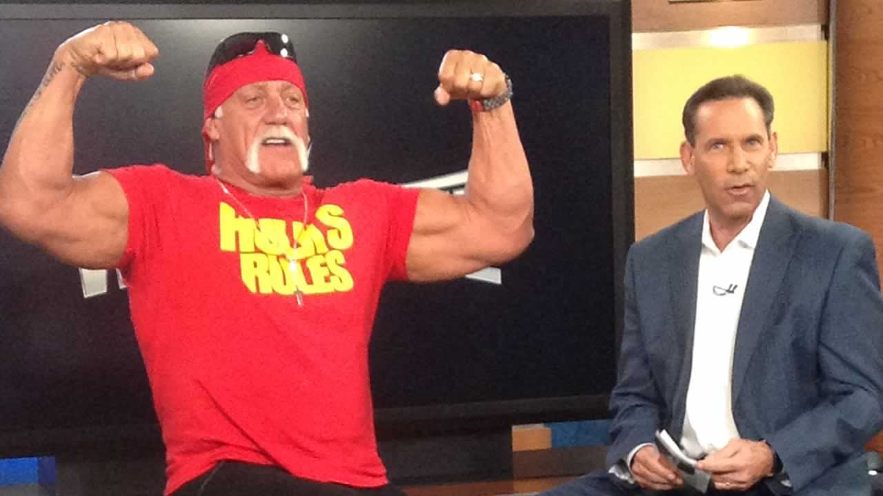 Hulk Hogan stopped ABC7 to talk to Larry Beil about WrestleMania coming to Santa Clara's Levi's Stadium.