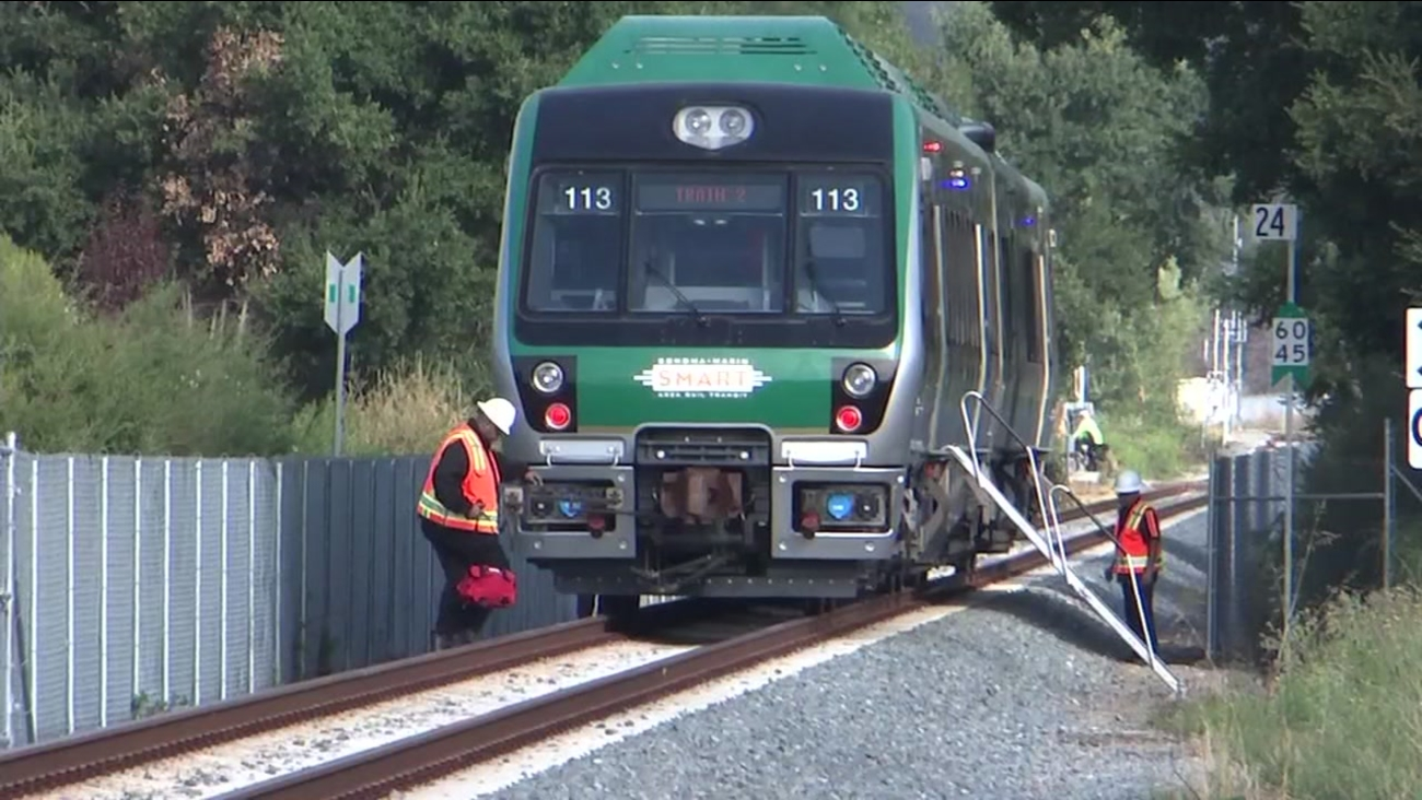 A SMART train is pictured in Novato, Calif. on Monday, August 13, 2018.