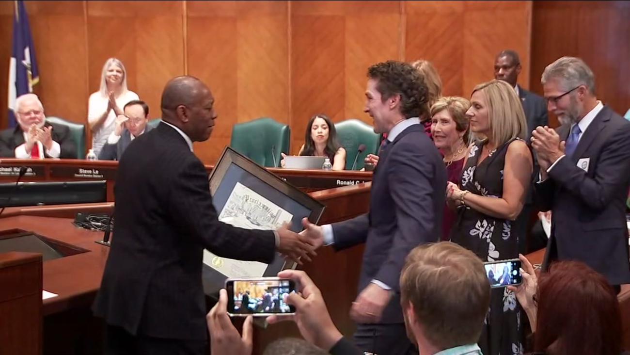 joel osteen and lakewood church honored by city of houston for post