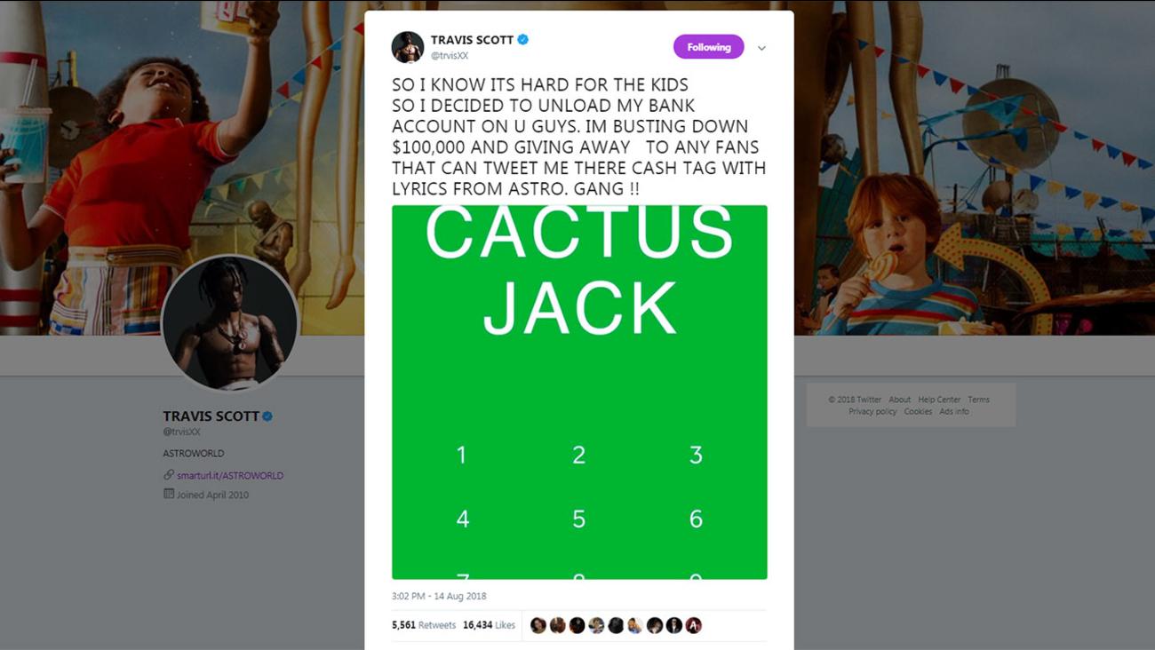 09862d3aca12 Houston rapper Travis Scott giving away  100,000 to fans on Twitter    abc13.com