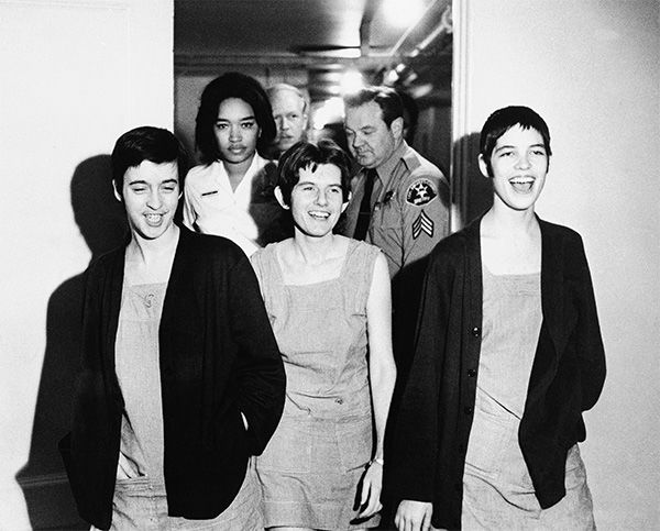 <div class='meta'><div class='origin-logo' data-origin='none'></div><span class='caption-text' data-credit='Photo/AP'>Co-defendants in the Sharon Tate murder case, from left, Susan Atkins, Patricia Krenwinkel and Leslie Van Houten, walk to court in Los Angeles for sentencing, March 29, 1971.</span></div>