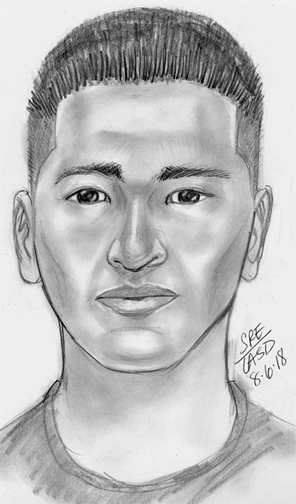 A Los Angeles County Sheriff's Department sketch depicts one of three suspects allegedly involved in a kidnapping in July in the San Gabriel area.