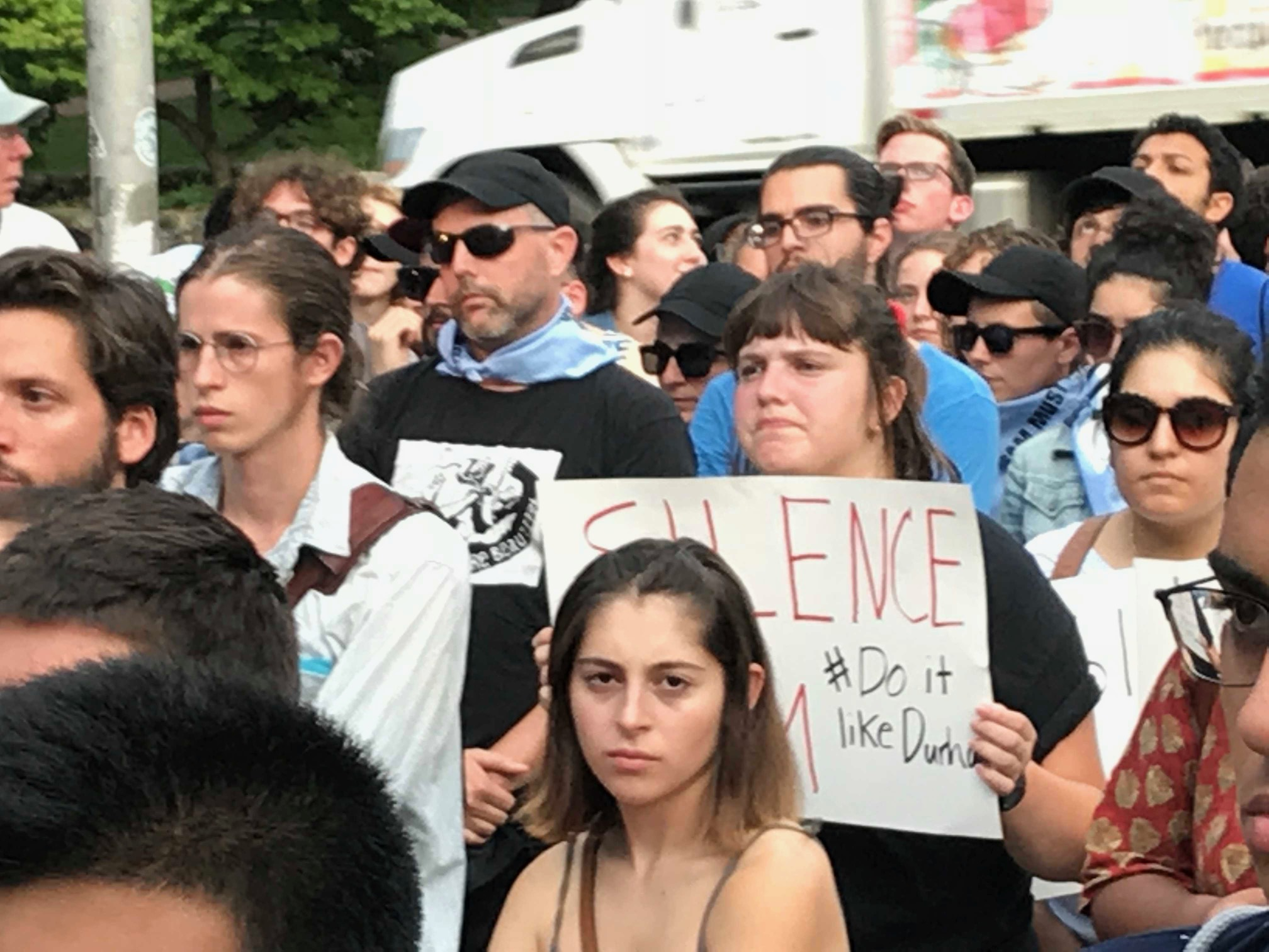 "<div class=""meta image-caption""><div class=""origin-logo origin-image wtvd""><span>WTVD</span></div><span class=""caption-text"">Hundreds of protesters gathered Monday at the Silent Sam Confederate statue on the UNC-Chapel Hill campus. (Robert Judson)</span></div>"