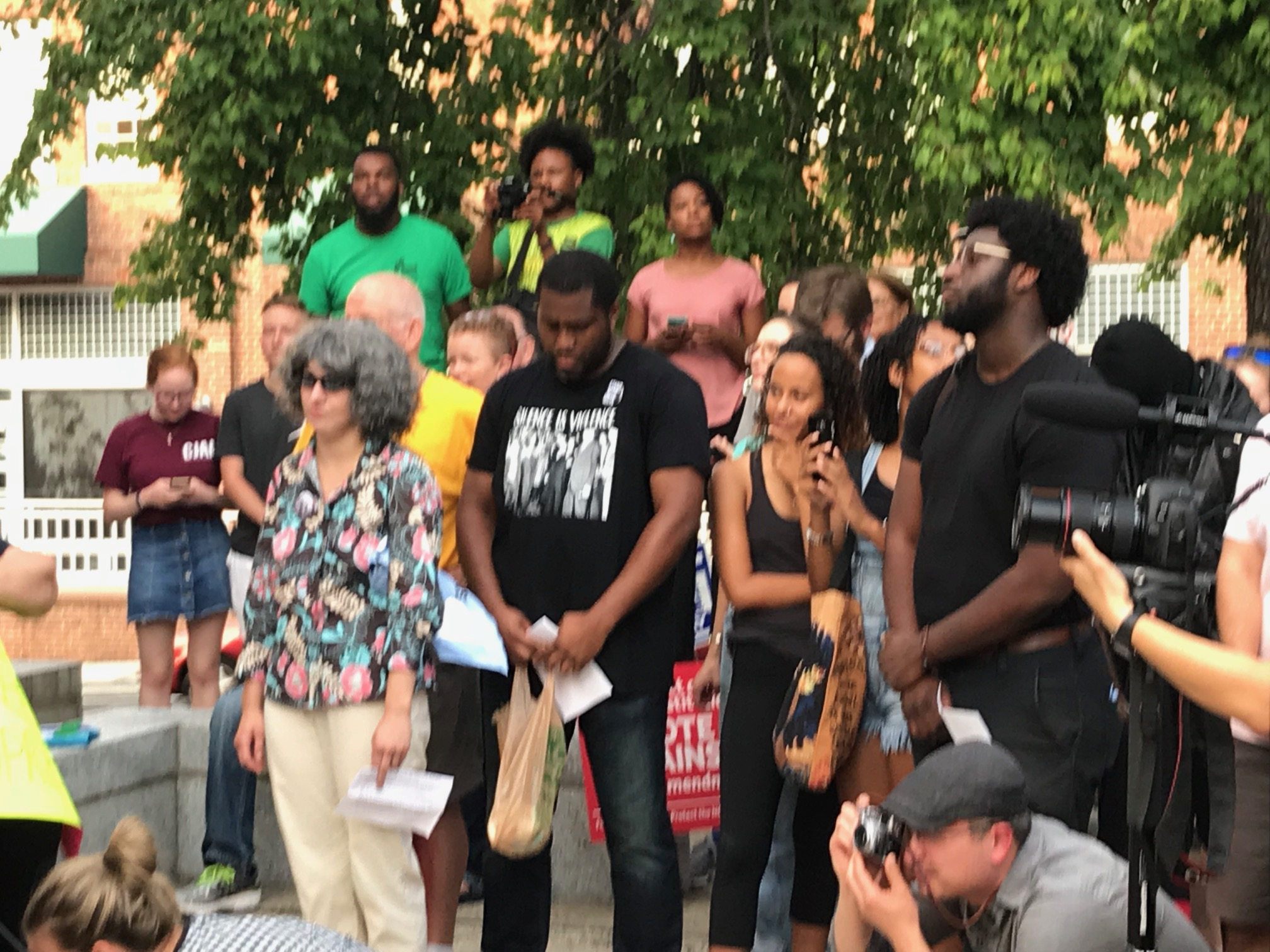 <div class='meta'><div class='origin-logo' data-origin='WTVD'></div><span class='caption-text' data-credit='Robert Judson'>Hundreds of protesters gathered Monday at the Silent Sam Confederate statue on the UNC-Chapel Hill campus.</span></div>