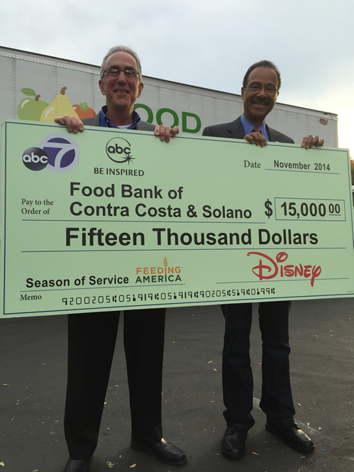 "<div class=""meta image-caption""><div class=""origin-logo origin-image ""><span></span></div><span class=""caption-text"">On Nov. 18, 2014, ABC7's Spencer Christian was at the Food Bank of Contra Costa and Solano and presented a check for $15,000 on behalf of ABC7 and Disney.</span></div>"