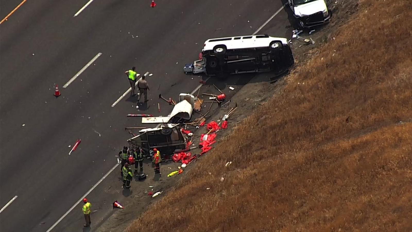 Caltrans workers hurt in I-80 crash in Fairfield near where CHP officer was  killed