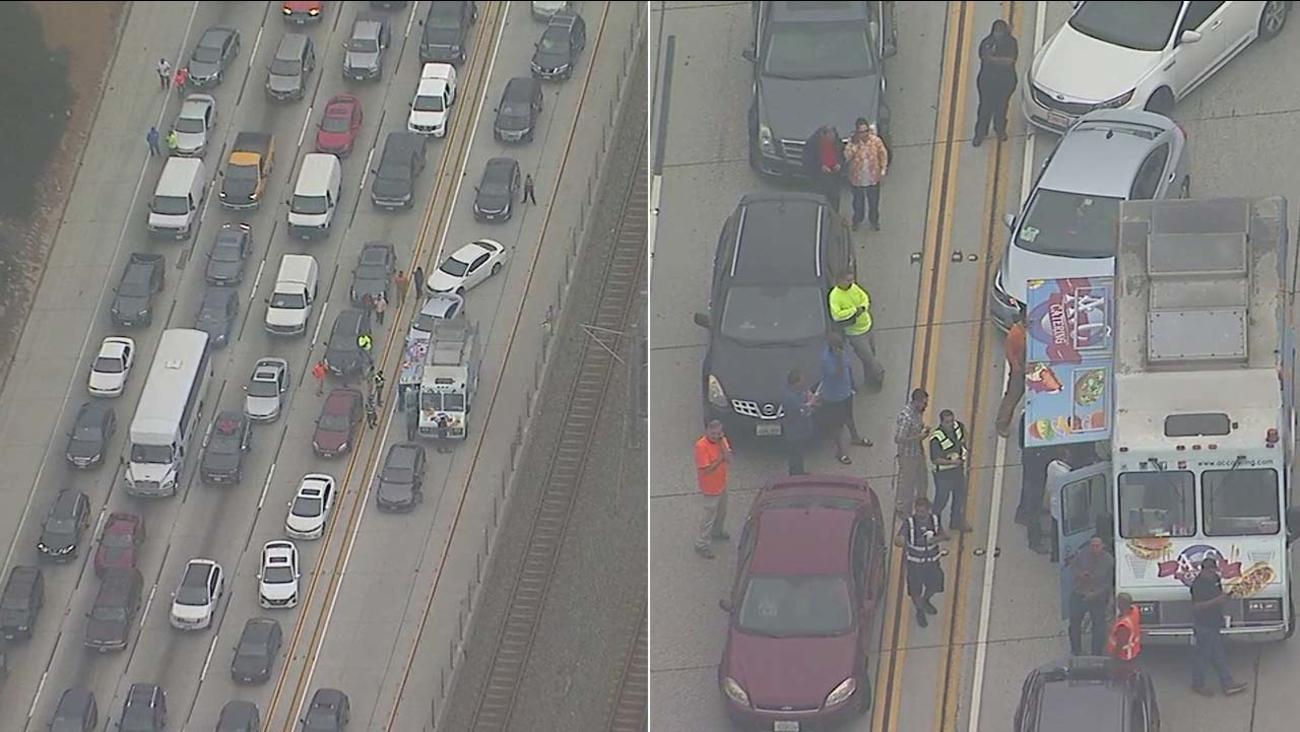 Food Truck Feeds Commuters On California Freeway Amid Gridlock Traffic Following Fatal Tanker Crash