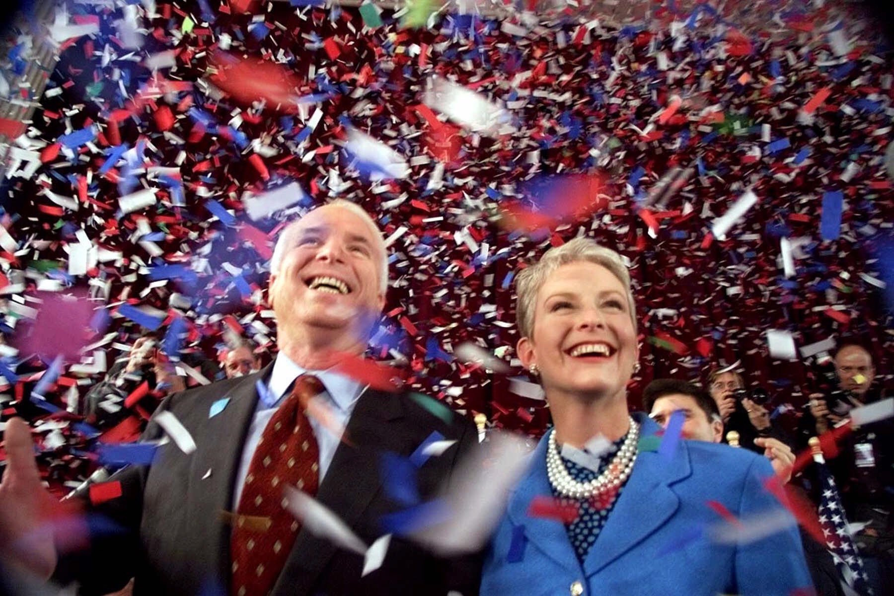 <div class='meta'><div class='origin-logo' data-origin='AP'></div><span class='caption-text' data-credit='AP Photo/Stephan Savoia'>Republican presidential candidate Sen. John McCain and his wife Cindy, smile as confetti falls on them at the end of  town hall meeting in Peterborough, N.H., on Jan 30, 2000.</span></div>