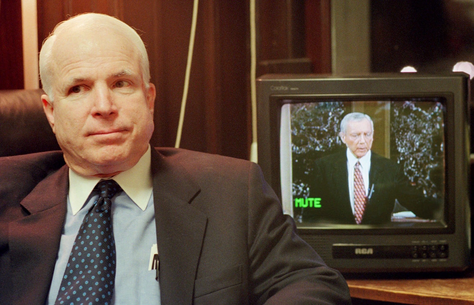 <div class='meta'><div class='origin-logo' data-origin='AP'></div><span class='caption-text' data-credit='AP Photo/Stephan Savoia'>Sen. John McCain, R-Ariz., sits in his chief of staffs' office on March 22, 2001, in Washington.</span></div>