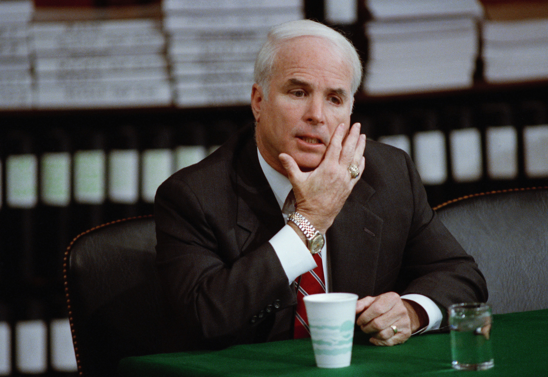 <div class='meta'><div class='origin-logo' data-origin='AP'></div><span class='caption-text' data-credit='AP Photo/John Duricka'>Arizona Sen. John McCain testifies before the Senate Ethics Committee Friday, Jan. 4, 1991 at Capitol Hill.</span></div>