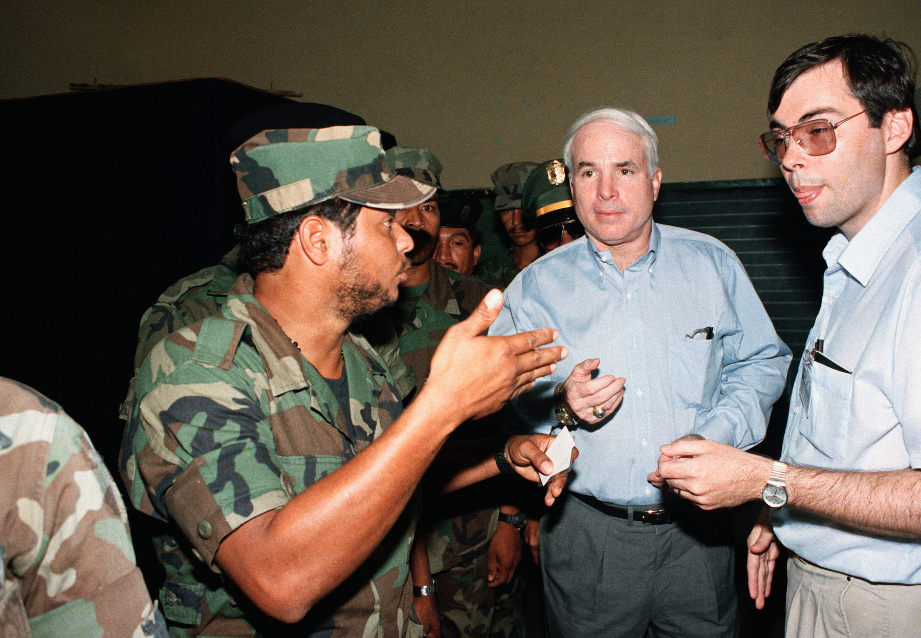 <div class='meta'><div class='origin-logo' data-origin='AP'></div><span class='caption-text' data-credit='AP Photo/Matias Recart'>Senator John McCain speaks with a soldier from the Panamanian Defense Forces  Sunday, May 7, 1989, in Panama City after he voted.</span></div>